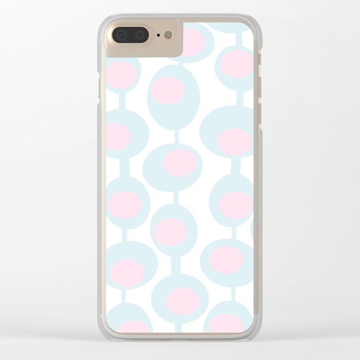 abstract 60ies circles and dots pattern in pink, white and aqua Clear iPhone Case