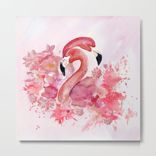 Tropical birds- Flamingo in LOVE with exotic flowers on #Society6 Metal Print