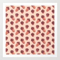 Acorns Pattern Art Print
