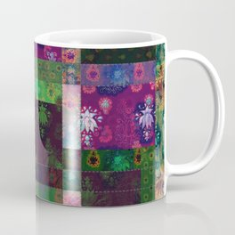 Lotus flower green and maroon stitched patchwork - woodblock print style pattern Coffee Mug