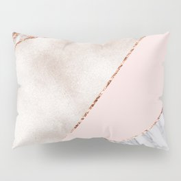 Spliced mixed rose gold marble Pillow Sham