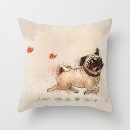 The Furminator pug watercolor like art Throw Pillow