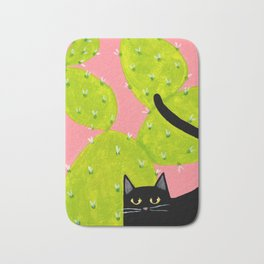 Black Cat with Cactus Bath Mat
