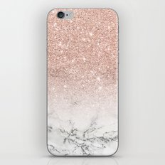 Modern faux rose pink glitter ombre white marble iPhone Skin