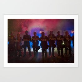 Riot Police Line - Red/Blue  Art Print