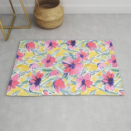 Painterly Watercolor Floral Pink Rug