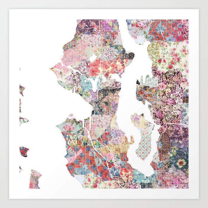Seattle Map Flowers Art Print By Poeticmaps Society6