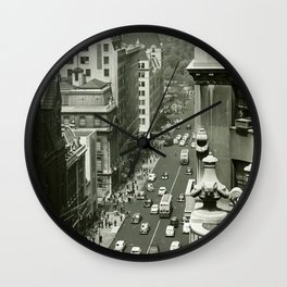 Fifth Avenue, New York City, B&W, high angle view 1950s vintage photo Wall Clock