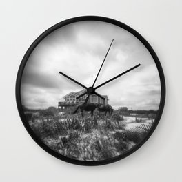The Wild Horses of Corolla, NC - Black and White Film Photograph Wall Clock