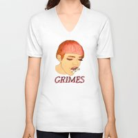 grimes V-neck T-shirts featuring Grimes by caxcma