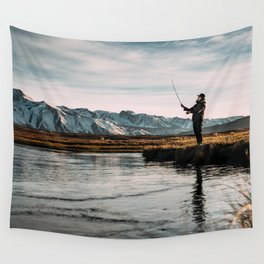 Flyfishing & Mountains Wall Tapestry