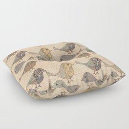 Nostalgic Autumn Patchwork Bird Pattern in warm retro colors #autumndecoration Floor Pillow