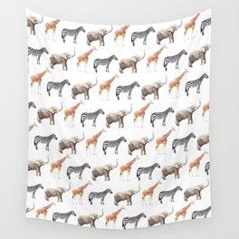 Animals, Elephant, Giraffe, Zebra, Zoo, Kids, Nursery, Minimal, Pattern, Modern art Wall Tapestry