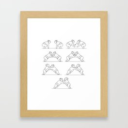 Rikishi Sumo Wrestlers Wrestling Mono Line Collection Set Framed Art Print