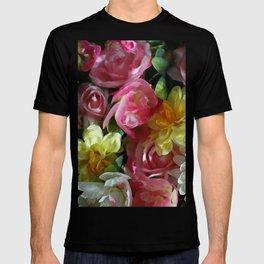 In Full Bloom Spring in Paris La Vie En Rose Roses Daisies Fresh Flowers Floral Bouquet Wall of Flowers Design Pattern Digital Pastel Image Photography  T-shirt
