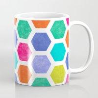 hexagon Mugs featuring Hexagon 2 by Jacqueline Maldonado