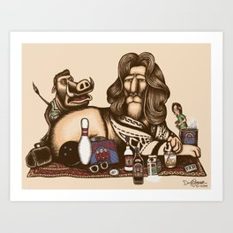 His Dudeness Abides Art Print