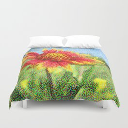Red Flower in a Field Duvet Cover
