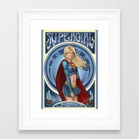 supergirl Framed Art Prints featuring Supergirl  by Ryan Chan