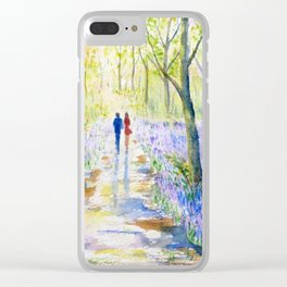 Watercolor bluebell wood walking Clear iPhone Case