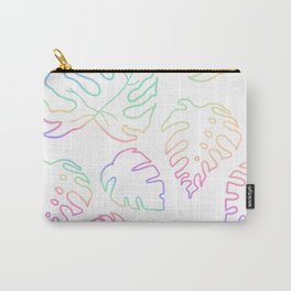 Rainbow Pride Monstera Leaves Carry-All Pouch