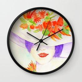 Watercolor Chilli Girl Fashion, Chilli Hat Wall Clock