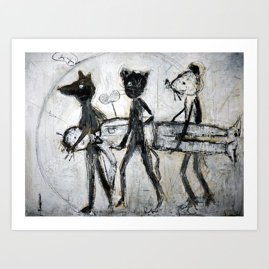 dog,cat and mouse Art Print