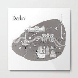 Mapping Berlin - Grey Metal Print