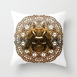 Mandala, skeleton and eagle Throw Pillow
