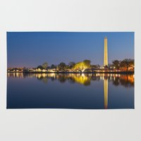 washington dc Area & Throw Rugs featuring Washington DC Dawn Monument by Nicolas Raymond
