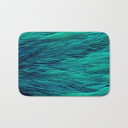 Teal Feathers Bath Mat