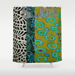 Teal & Olive Abstract Art Collage Shower Curtain