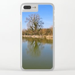 Fisherman on a reservoir Clear iPhone Case