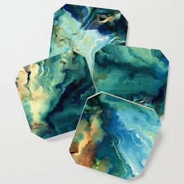 Marbled Ocean Abstract, Navy, Blue, Teal, Green Coaster