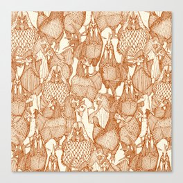 just chickens rust pearl Canvas Print