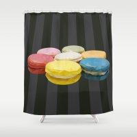 macaroon Shower Curtains featuring geometric macaroon sweet by artsimo