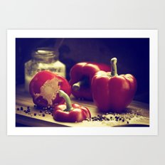 Fresh red peppers in retro still life Art Print