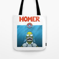 homer Tote Bags featuring HOMER by BC Arts