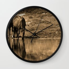 Mother and son drinking Wall Clock