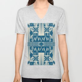 Art Deco Abstract Soft Teal Unisex V-Neck