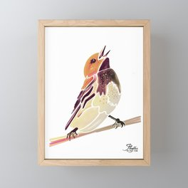 Watercolor Song bird // Wildlife Yellow Meadow Lark // White Background Framed Mini Art Print
