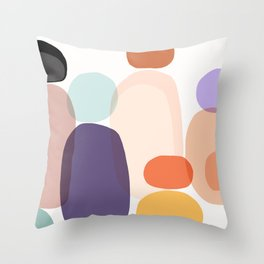 Family Portrait / Contemporary Abstract Shapes Throw Pillow