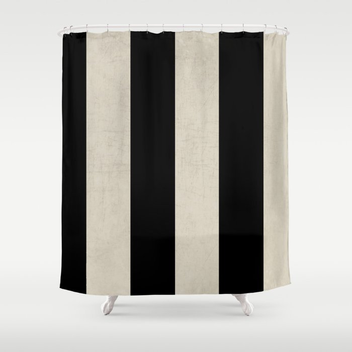 Vintage Black Stripes Shower Curtain By Herart