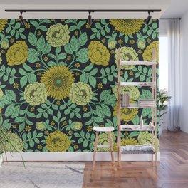 Seafoam Green, Chartreuse, Mustard Yellow & Navy Blue Floral Pattern Wall Mural