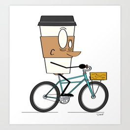 Coffee Cup Biking Art Print