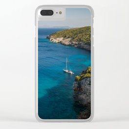 A picturesque Mediterranean view with yachts Clear iPhone Case
