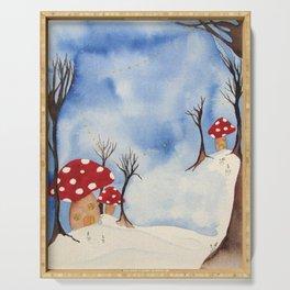 Mushroom Houses in Winter by Twelve Little Tales Serving Tray