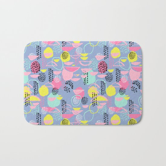 Abstract pattern nursery minimal pattern pink mint pastels and white abstract pattern design Bath Mat