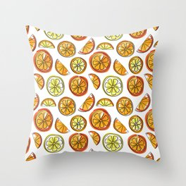 Illustrated Oranges and Limes Throw Pillow