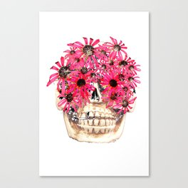 Echinacea Flower Skull Canvas Print
